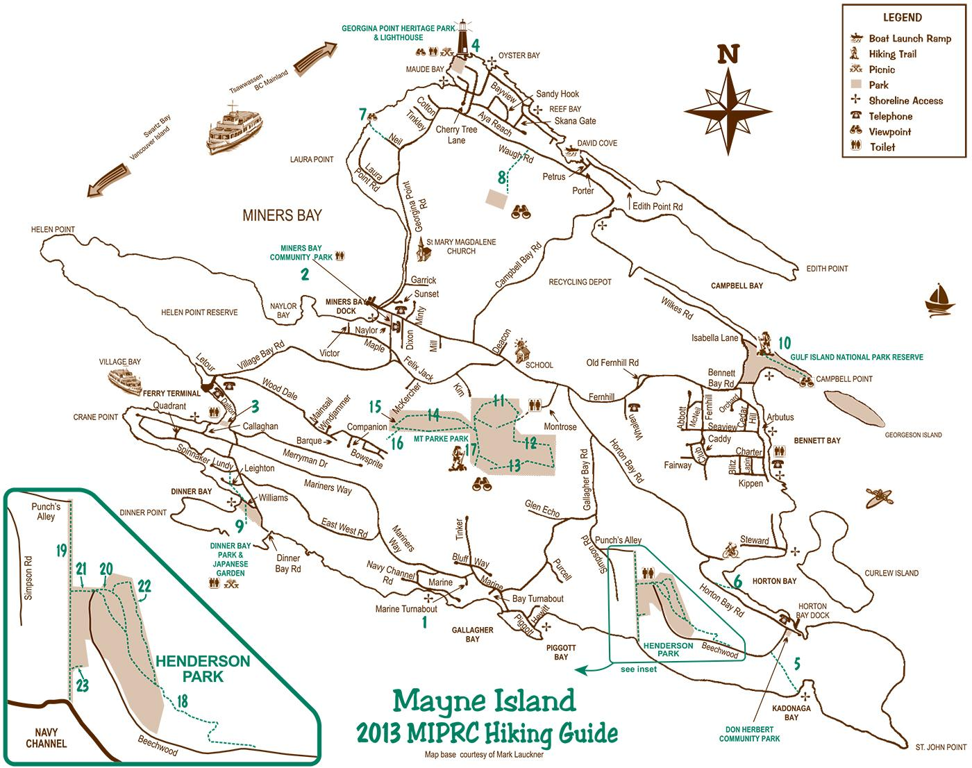 Mayne Hiking Map
